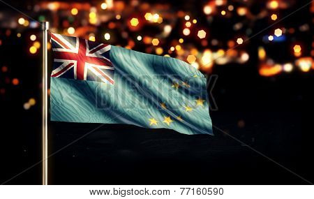 Tuvalu National Flag City Light Night Bokeh Background 3D