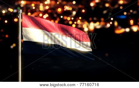Yemen National Flag City Light Night Bokeh Background 3D