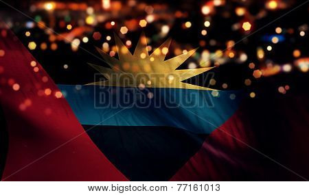 Antigua And Barbuda National Flag Light Night Bokeh Abstract Background