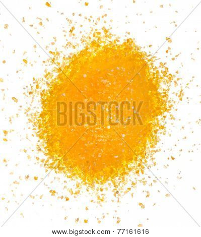 heap pile of cornmeal maize flour surface top view isolated on white background