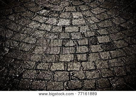 Dark Wet Cobblestone Background