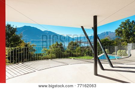 Architecture, modern villa, view from the veranda