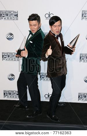 LOS ANGELES - NOV 23:  Chopstick Brothers, Xiao Yang, Wang Taili at the 2014 American Music Awards - Press Room at the Nokia Theater on November 23, 2014 in Los Angeles, CA