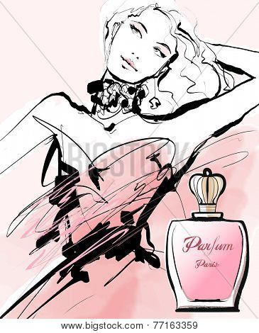 Drawing of a woman advertising for a perfume - Vector illustration