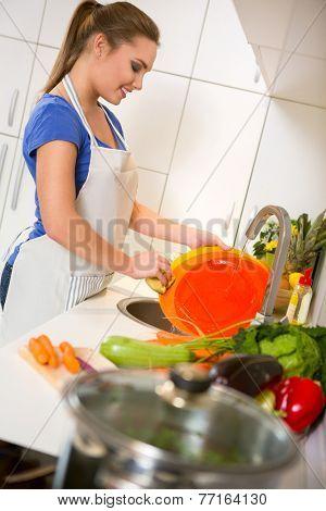 Beautiful young housewife washing the dishes
