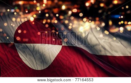 Greenland National Flag Light Night Bokeh Abstract Background