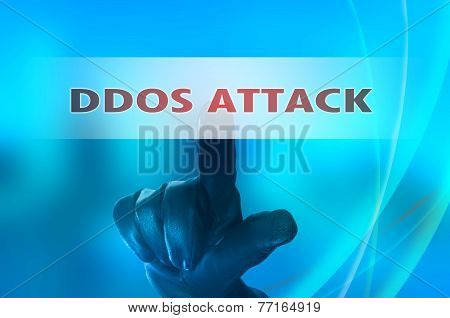 Online Distributed Denial Services Attack  Concept With Hand Wearing Black Leather Glove