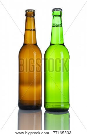 Brown and green beer bottles without labels isolated on white background