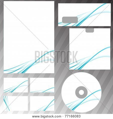Blue Swoosh Abstract Modern Wave Stationery Set