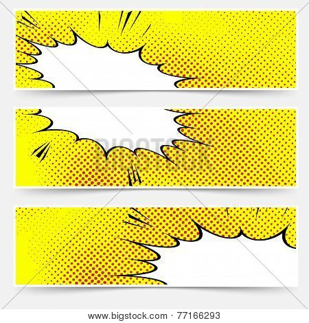 Yellow Header Book Comic Explosion Banner