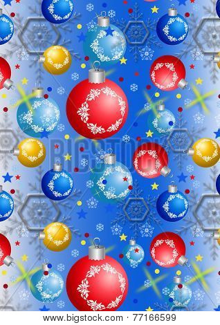 Christmas balls and snowflakes on a blue gradient background