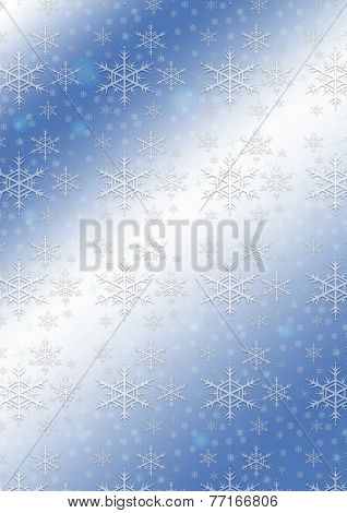 White snowflakes on a blue wavy gradient background