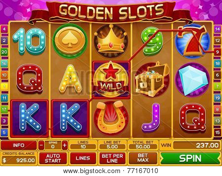 Slots game template vector illustration