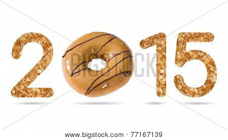 2015 Numeric From Natural Sugar And Donut Topped By Coffee Cream And Chocolate