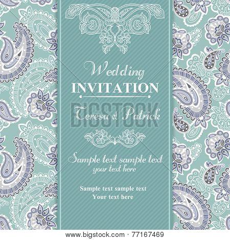Wedding invitation in blue style