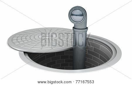 Periscope sticking out of a manhole