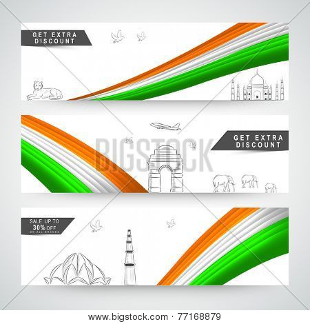 Website header or banner set for Indian Republic Day with national flag colors and famous monuments.