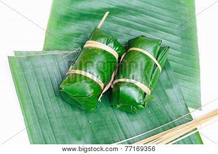 Thai Dessert Sticky Rice Steamed In Banana Leaf ( Khao Tom Mat )