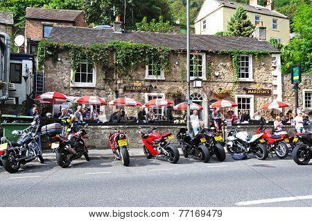 Bikers at pub, Matlock Bath.