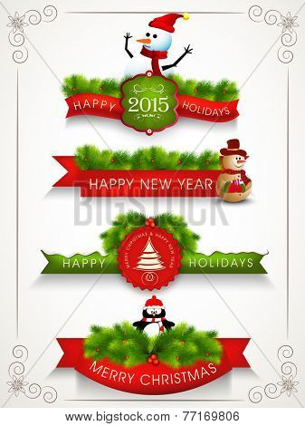 Colorful poster, banner or flyer for Happy New Year and Merry Christmas celebrations.