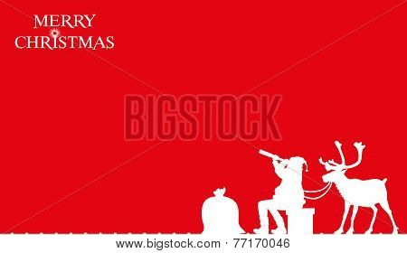 christmas card - santa claus on the roof
