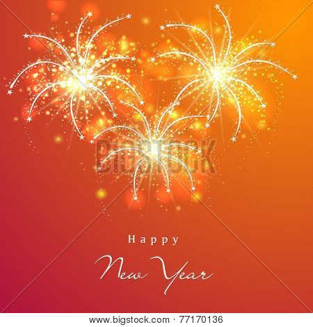 Happy New Year 2015 celebration greeting card design with beautiful text and shiny fireworks decorated orange background.