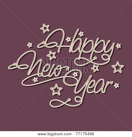 Happy New Year 2015 poster, banner or flyer with stylish text and stars on purple background.