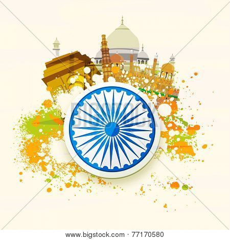 Happy Indian Republic Day and Independence Day celebration concept with famous monuments, ashoka wheel and national flag color splash on abstract background.