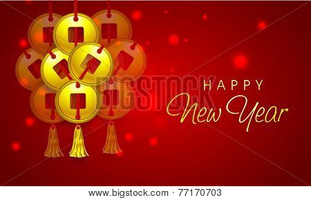 Traditional Chinese coins hanging on shiny red background for Happy New Year celebrations, can be used as poster, banner or flyer.