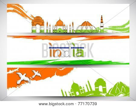 Website header or banner design in Indian tricolors for Indian Republic Day and Independence Day celebrations.