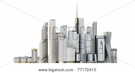 3D City Isolated On White Bacground.