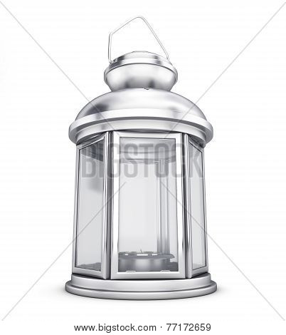 Silver Decorative Lantern In The Old Style Close-up