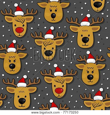 Reindeers in Santa Claus hats messy Christmas winter holidays seamless pattern on dark