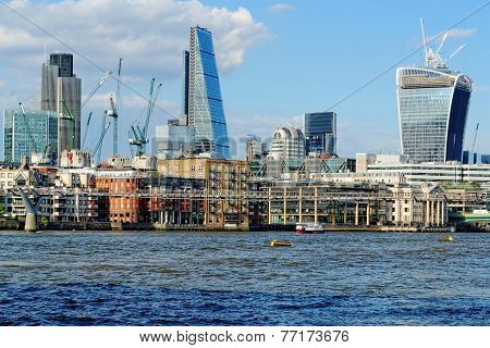 Skyline of London, England.