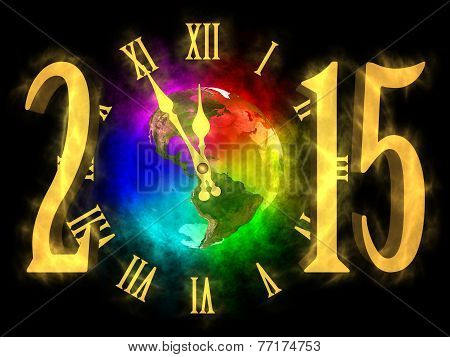 Happy new year 2015 - rainbow planet Earth - America
