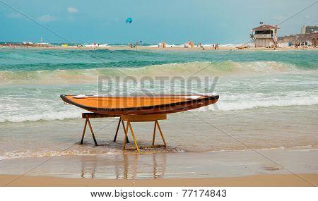 Beach on the coast of the Mediterranean Sea in Israel