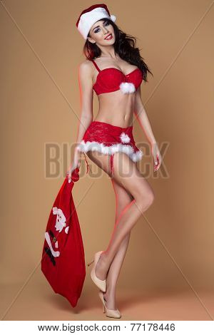 Attractive Woman Posing, Christmas Time