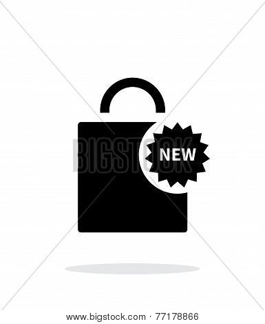 New shopping bag simple icon on white background.