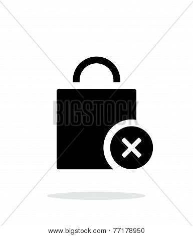 Shopping bag delete simple icon on white background.