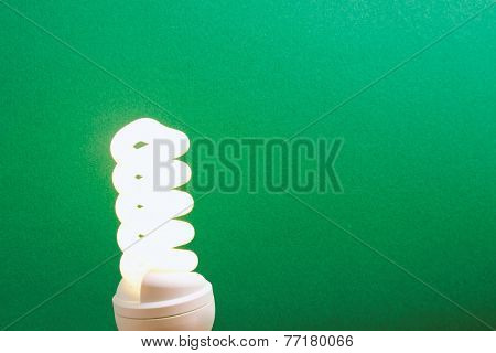 electrical fluorescent energy-saving lamp isolated on green background