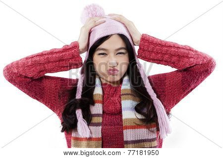 Closeup Of Cranky Girl Wearing Sweater