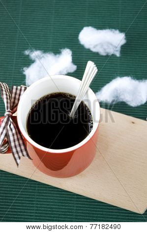Coffee In Red Cup On Wooden