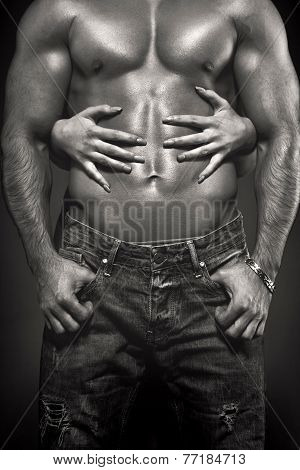 Woman Hands Embracing Sexy Man Abs Black And White