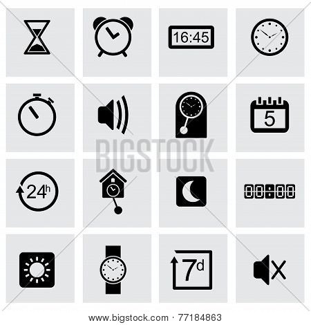 Vector black time icons set
