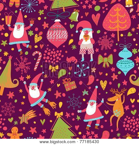 Cute seamless christmas pattern with holiday elements: Santa Claus, reindeer, toys, gift, bow, stars, hearts, trees. Cartoon vector new year texture.