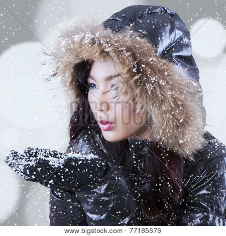 Playful Lady With Snowfall