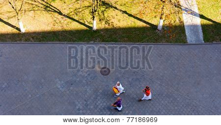 GOMEL, BELARUS - SEPTEMBER 12: Buddhists, walking down the street on September15, 2014 in Gomel, Belarus.