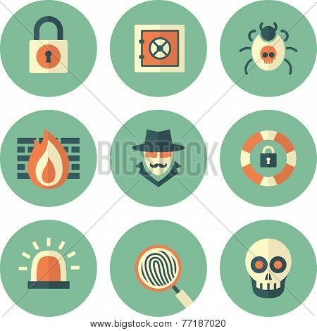Set Of Circle Security Icons