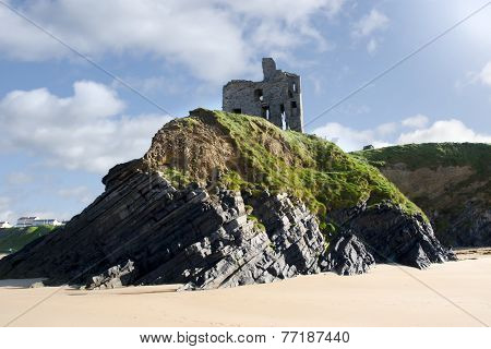 Old Historic Ballybunion Castle On A Cliff Edge