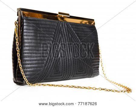 Black Female Leather Bag Isolated Over White Background